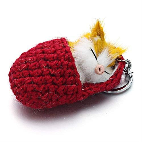GGOII Schlüsselbund Schöne schlafende Katze Pompon Schlüsselanhänger Faux Kaninchenfell Cute Kitten Handmade Woven Flauschige Schlüsselanhänger Für Frauen Mädchen Geschenk Auto K381Rot