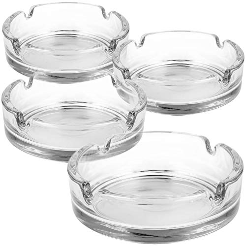 com-four® 4x Ashtray made of glass - clear glass Ashtray for cigarettes - classic Ashtrays for private and gastronomy (004 pieces - Ø 11 cm x 3.8 cm)
