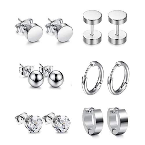 VVXXMO Juego de 6 pares de pendientes punk, pendientes de acero inoxidable, joyería moderna y elegante, pendientes para amantes de la cultura gótica