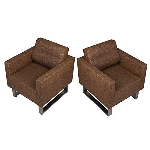 Koreyosh Modern Accent Chairs PU Leather Club Sofa Upholstered Arm Chairs Leisure Sofa with Cushion,Set of 2,Coffee