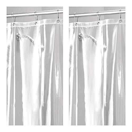 mDesign Waterproof, Mold/Mildew Resistant, Heavy Duty Premium Quality 10-Guage Vinyl Shower Curtain Liner for Bathroom Shower and Bathtub - 72