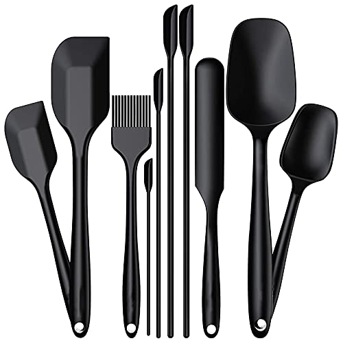 Dcolor Juego de 10 EspáTulas de Silicona Que Incluyen 4 EspáTulas, Utensilios de Cocina con EspáTula de Goma Resistente al Calor, Cocina (Negro)