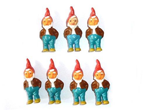 ERRO 7 nani – Set di 7 nani in plastica (blu, marrone) per il fai da te, statuetta delle fiabe, Nano da giardino, bricolage, fiaba