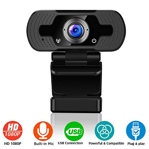 Ulalov Webcam with Microphone for Desktop, 1080P Full HD Webcam for PC Laptop Desktop Video Calling, Conferencing, Compatible with Windows 10, 8, 7, XP and Mac OS X