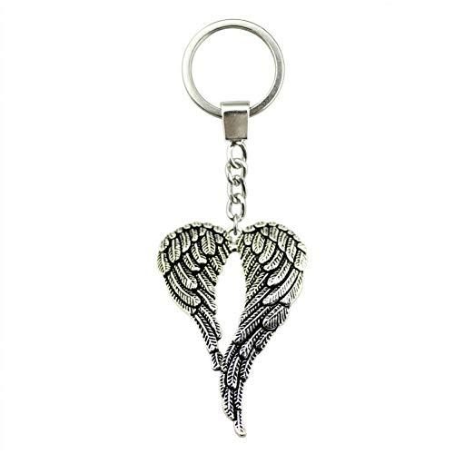 Taoziaa sleutelhanger 68 x 46 mm grote dubbele vleugel antiek bronskleurig verzilverd kleur mannen sieraden autosleutel sleutelhanger sleutelhanger sleutelring houder als geschenk