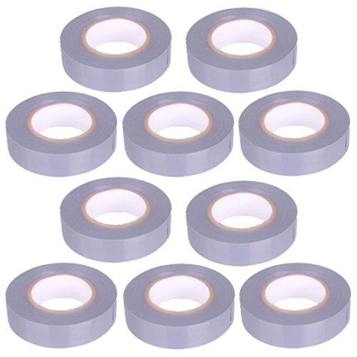 10pezzi–Nastro isolante in PVC nastro 10metri di lunghezza 15mm di larghezza–grigio -