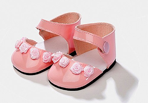 Unbekannt Schwenk Puppenkleidung, Puppenschuhe, rosa Lederschuhe für 28 - 32 cm Puppen