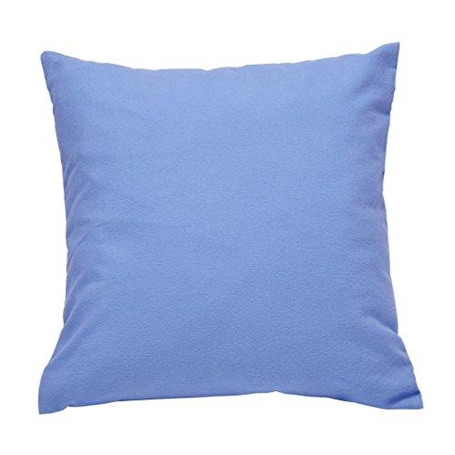 Nurtextil24 Flanell Kissenbezug in 10 Farben & 10 Größen Kissenhüllen aus 100% Baumwolle Blau 40 x 60 cm