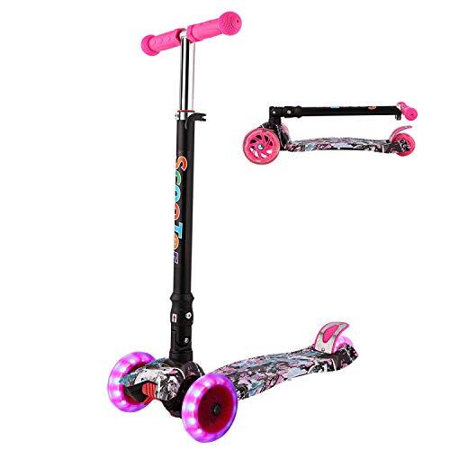 WeSkate Kinderroller Mädchen Jungen Kick Scooter Kinder 3 Rad Roller Kleinkind mit Graffiti Deck Einstellbar Höhe Klappbar faltbar System Roller Dreirad ab 3-12 Jahre (Rot)