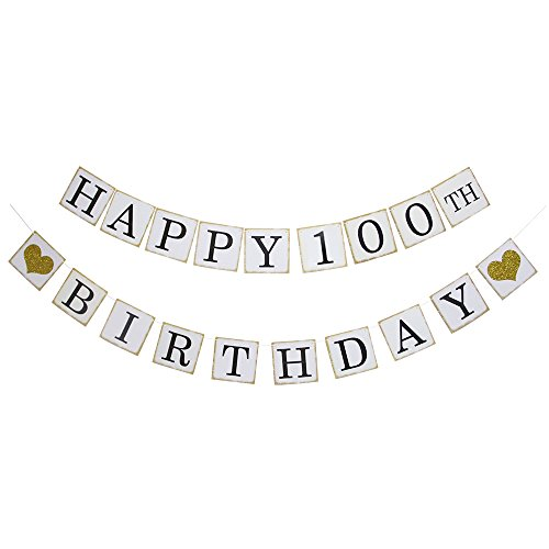 Happy 100TH Birthday Banner - Gold Glitter Heart for 100 Years Birthday Party Decoration Bunting White(100)
