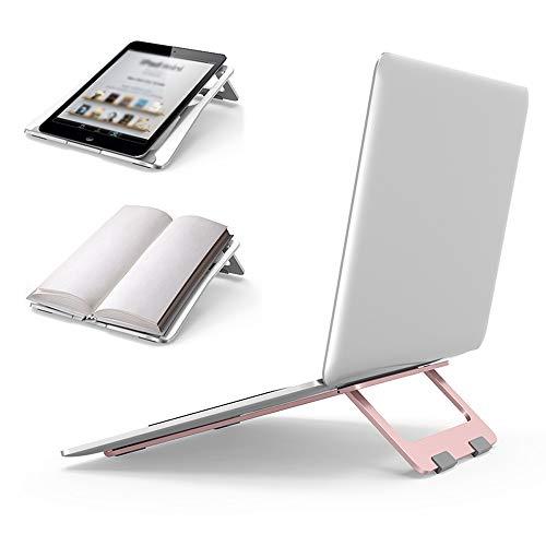 PULLEY-C - Soporte de aluminio portátil ajustable, soporte para portátil, compatible con MacBook, Surface Laptop y tableta de 10 a 17 pulgadas (oro rosa) C