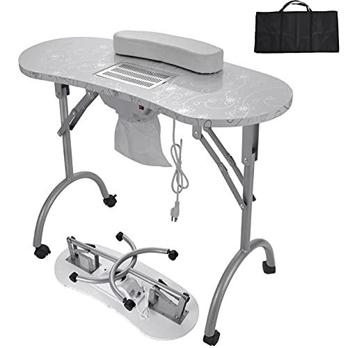 Nageltisch Maniküretisch mit Absaugung, Mobilesmanikürtisch für Techniker mit Schubladen Nageltischstation,...