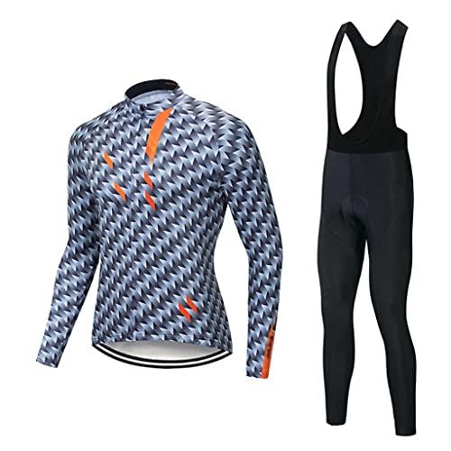 ZAYZ Hombres Secado Rápido Conjunto de Jersey de Ciclismo, Pantalones Acolchados con Cojín 3D, por Bicicleta de Carretera Montar Al Aire Libre Ropa de Deporte (Color : Gray3, Size : XS)