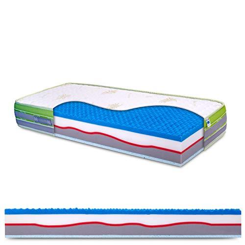 Materasso singolo in memory e lattice, 7 zone differenziate, sfoderabile, tessuto aloe vera, antiacaro, alto 26cm, 100% Made in Italy - mod. Marilyn - 90 x 190 cm (singolo)
