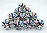 Perillas de cerámica de calidad prémium con varios diseños de colores vintage, tiradores de puerta de armario y herrajes cromados, lote de 10 piezas (diseño 2)