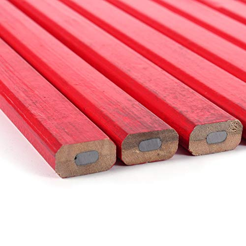 BHDD Pintura roja de Plomo Duro 10 Piezas/Juego de lápiz para carpintería, lápiz de Carpintero, Mina Negra para marcar carpintería