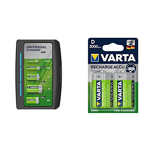 VARTA Cargador Universal - Indicador de Carga led - Apagado automático de Seguridad + Pila precargada D Mono de Ni-Mh VARTA Rechargeable Ready2Use