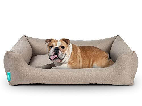 Hyggins Dreamer Pure Hundebett | Bezug abnehmbar und waschbar | Robust und pflegeleicht (M 80 x 60cm, Beigegrau)