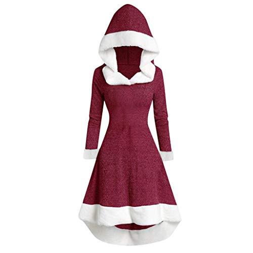 LOPILY Weihnachtskleider Damen Kapuzenumhang Santa Kostüme Damen Mädchen Fleece Plüschkragen Weiß Rot Weihnachtsmann Kleidung Grün Ausgestelltes Weihnachtskleid Strickpullover Weihnachten (Rot, 36)