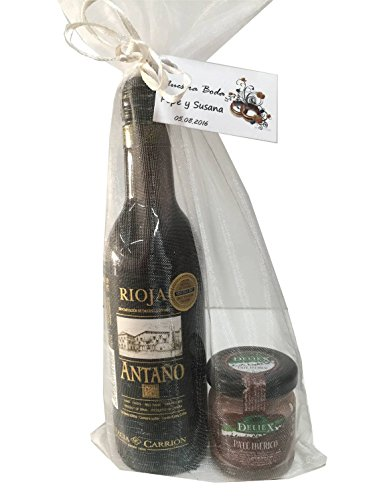 Regalo de vino Rioja Antaño con paté ibérico en bolsa de organza para invitados (Pack 24 ud)