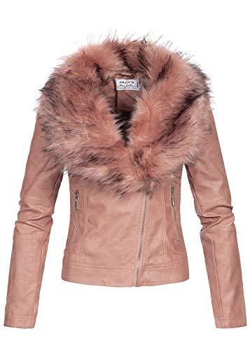 Hailys Damen Kunstlederjacke abnehmb. Kunstfell 2 Taschen asymmetrischer Zipper rosa, Gr:S