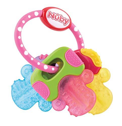 Nûby - IcyBite™ Beißring für Babys fördert Sehsinn & Motorik Schlüssel - Beißring spielzeug ab 3M+ - Rosa