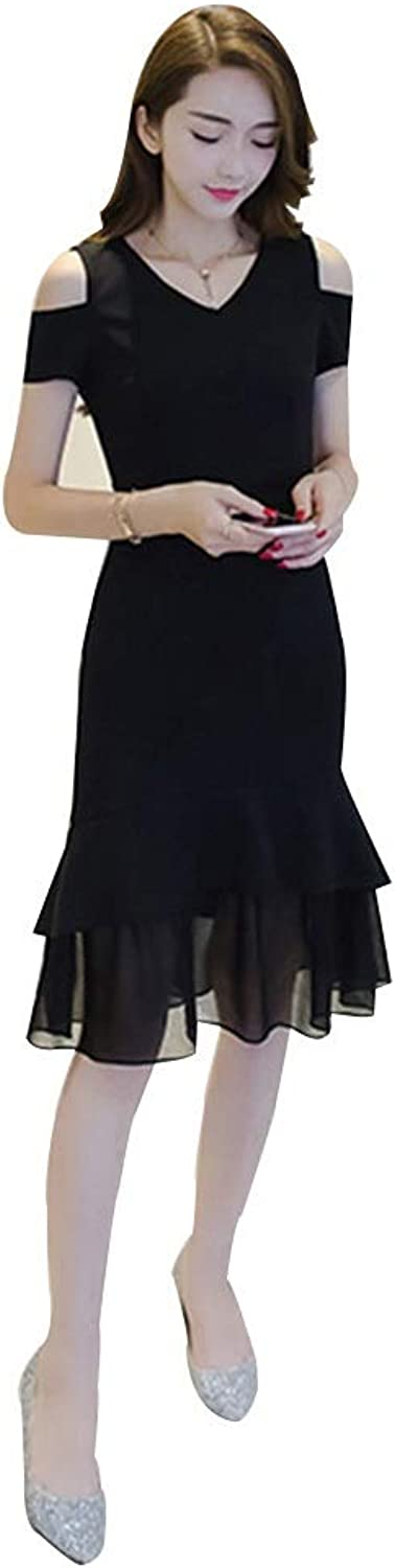 New Dress Casual Slim VNeck Temperament A Word Skirt Women's Long Section (Size   S)