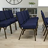 EMMA + OLIVER 21' W Stack Church Chair, Navy Blue Dot Patterned Fabric/Gold Vein