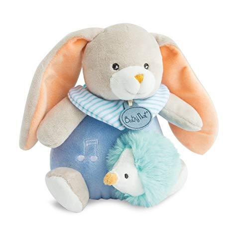 Baby Nat' - Peluche Musicale Lapin - Boîte à Musique - Bleu - Idée Cadeau - Lapin Pom - BN0254