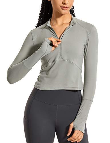 CRZ YOGA Damen Laufshirt Thermo Funktionsshirt Langarm mit Halbreißverschluss Rock grau 38