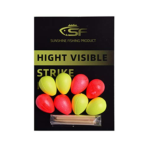 SF Strike Indicators Bobbers Fly Fishing with Wooden Tooth Pick Floating Foam Fishing Tackle Accessories Fluorescent yellow(2)/Red(2)-Teardrop