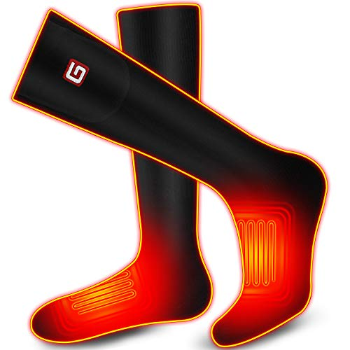 Rabbitroom 2200mAh Heated Socks for Men Women Rechargeable Battery Powered for Winter Cold Weather 3 Heating Settings up to 7 Hours Winter Warm Thermal Electric Socks for Skiing Fishing Camping