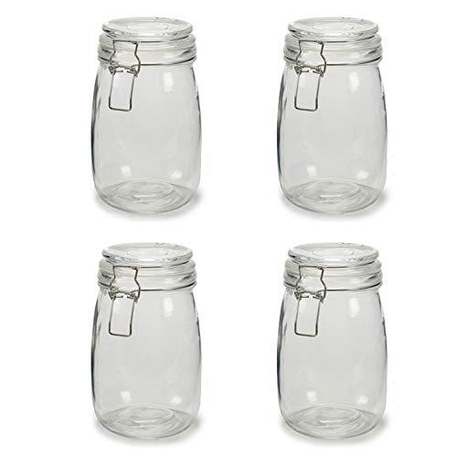 4X Botes de Cristal para Cocina de 1 litro con Cierre Muy Hermético de Clip con Junta de Silicona. Tarros de Vidrio con Tapa. Pack 4 Unidades. Conserva y Preserva (4)