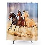 Homewelle Duschvorhang mit Pferden, robust, Tiergraslandschaft, Bauernhof, 60 x 183 cm, Galoppen in der Sandwüste, wasserdicht, 12 Stück