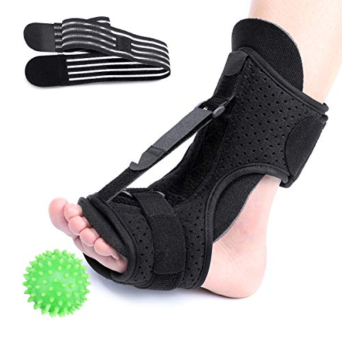 CHARMINER Plantar Fasciitis Night Splint, Foot Drop Orthotic Brace, Adjustable Elastic Dorsal Night Splint, Effective Relief from Plantar Fasciitis Pain, Heel Pain With Massage Ball Green