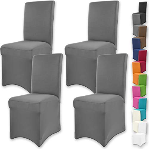 Gräfenstayn 4pcs Fundas para sillas elásticas Henry - respaldos Redondos y angulares - Paquete Ben