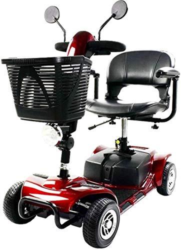 Silla de Ruedas eléctrica, Scooter de alta resistencia, ligero y compacto, plegable, de traslación eléctrico de potencia 4 ruedas y scooter, asiento ajustable, rojo negro ,4 Ruedas Andador Para Ancian
