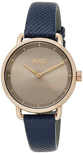 HUGO Damen Analog Quarz Armbanduhr mit Lederarmband 1540054