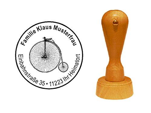 Stempel Holzstempel Motivstempel « HOCHRAD » mit persönlicher Adresse - Fahrrad Draisine Rad