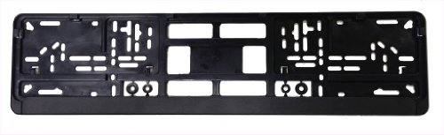 Standard Black Euro License Plate Holder - Universal Mounting Frame/Bracket