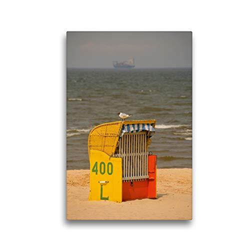 Premium Textil-Leinwand 30 x 45 cm Hoch-Format Strandkorb mit Möwe | Wandbild, HD-Bild auf Keilrahmen, Fertigbild auf hochwertigem Vlies, Leinwanddruck von Martina Berg