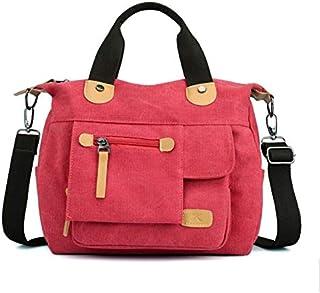 TDLJSVZE 女性のためのジッパー付きレトロ多機能キャンバスバッグシングルバッグ (Color : Red)
