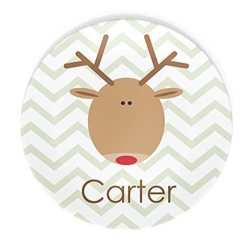 Christmas Reindeer Plate or Bowl Custom Personalized with Childs Name