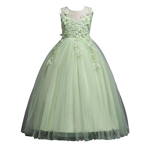 Honestyi Honestyi Weihnachten Mädchen Kleid, Winter Kids Baby Mädchen Princess Weihnachten Outfits Kleidung Netto Garn Rock Festlich Kleid (Grün, 9T/150CM)