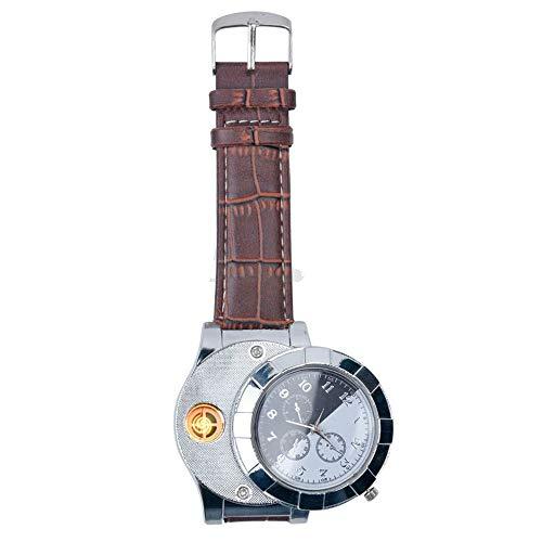 Aceallin Hot 1F667 Relojes de Encendedor USB Recargables de Moda Relojes de Pulsera de Cuarzo Casuales para Hombres electrónicos Encendedor de Cigarrillos sin Llama (A)