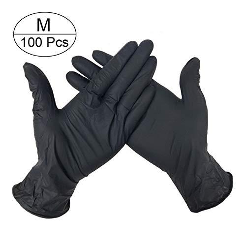 Linb 100 stuks/4 kleuren/latex handschoenen USA en Jet/schone keukenhandschoenen/nitrilhandschoenen/rubberhandschoenen/algemene tuinhandschoenen voor linker- en rechterhand M 100 Pezzi Neri