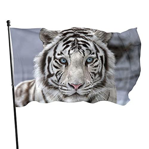 GOSMAO Bandera de jardín Tigre Blanco Color Vivo y Resistente a la decoloración UV Bandera de Patio Cosida Doble Bandera de Temporada Banderas de Pared 150X90cm