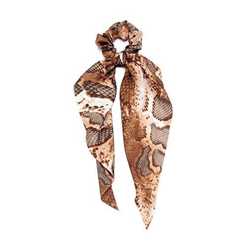 Kopfbekleidung Elastische Haarbänder Holder Pferdeschwanz Schal für Haare Schrauben Snake Leopard Print Ponytail Scarf Haarband mit Ribbon(07)