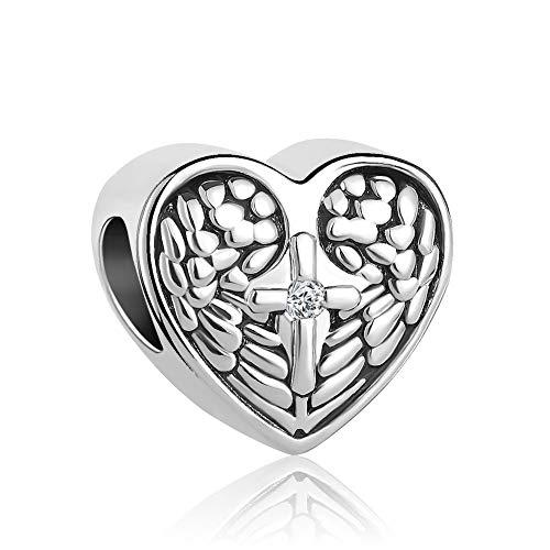 Lifequeen Jewellery Herat Cross Angel Wings Charm European Beads for BRAC elets