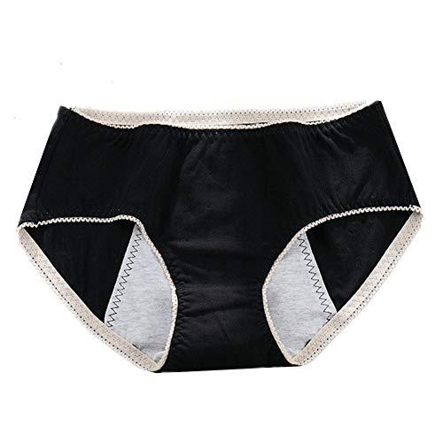 WESDOO Bragas Mujer Bragas Menstruales Bragas sin Costuras para Mujer Costura Transpirable Bragas Stretch Cobertura Pantalones Ropa Interior para Mujeres Black,XL